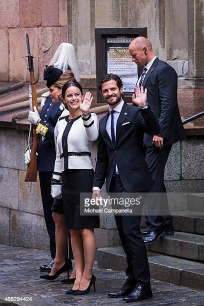 Princess Madeleine Prince Carl Phillip and Princess Sofia of Sweden depart after attending service at the Church of St Nicholas in connection with...