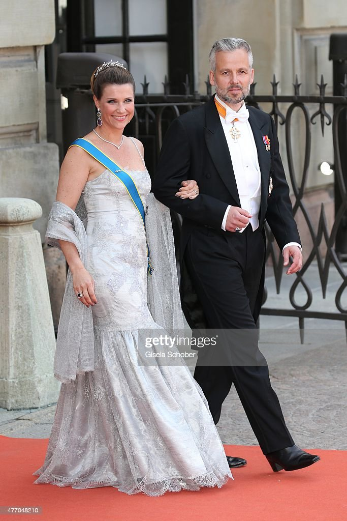 Princess Maertha Louise of Norway and husband Ari Behn attend the royal wedding of Prince Carl Philip of Sweden and Sofia Hellqvist at The Royal Palace on June 13, 2015 in Stockholm, Sweden.