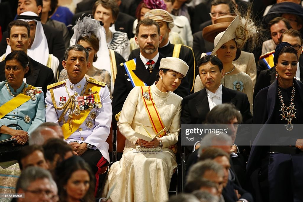 Princess Maha Chakri Sirindhorn, Prince Vajiralongkorn of Thailand, Princess Masako of Japan, Prince Naruhito of Japan and Sjeikha Moza bint Nasser al Misned of Qatar attend the inauguration of King Willem Alexander of the Netherlands in front of a joint session of the two houses of the States General at Nieuwe Kerk on April 30, 2013 in Amsterdam, Netherlands.