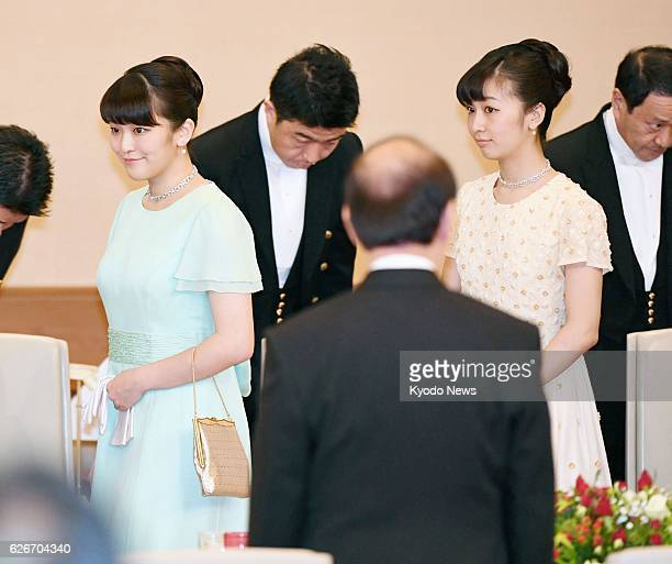 Princess Mako and her younger sister Princess Kako granddaughters of Emperor Akihito and Empress Michiko attend a banquet for Singapore President...