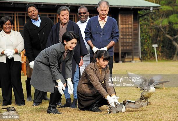 Princess Mako and Princess Kiko of Akishino release wild ducks at the Shinhama Imperial Wild Duck Preserves on November 29 2011 in Ichikawa Chiba...