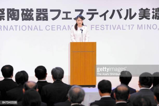 Princess Mako of Akishino addresses during the opening ceremony of the International Ceramics Festival on September 15 2017 in Tajimi Gifu Japan