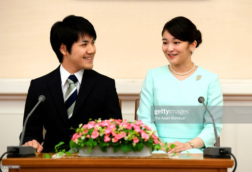 Princess Mako of Akishino (R) and her fiance Kei Komuro (L) attend a press conference at the Akasaka Estate on September 3, 2017 in Tokyo, Japan. Princess Mako, a granddaughter of the emperor and empress, expressed delight with her engagement to her fiance, Kei Komuro, as the young couple exchanged smiles at a news conference.