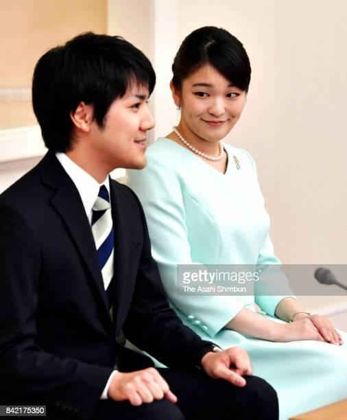 Princess Mako of Akishino and her fiance Kei Komuro attend a press conference at the Akasaka Estate on September 3 2017 in Tokyo Japan Princess Mako...