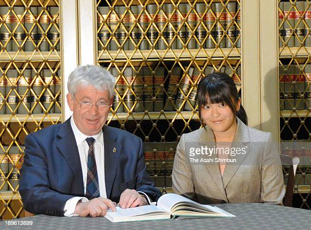 Princess Mako of Akishino and Principal of the University of Edinburgh Sir Timothy O'Shea talk at the campus library on May 27 2013 in Edinburgh...