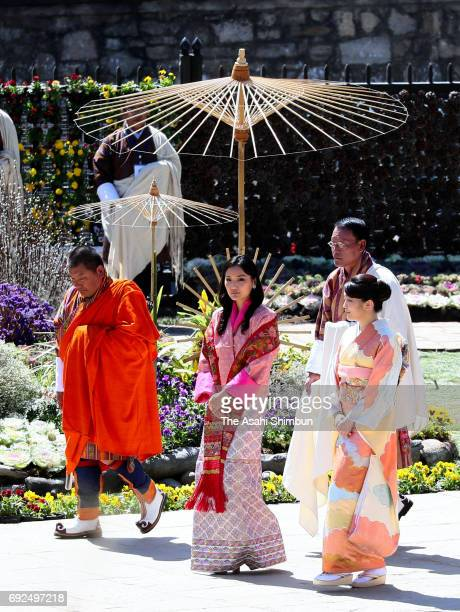 Princess Mako of Akishino and Queen Jetsun Pema of Bhutan visit a flower exhibition on June 4 2017 in Thimphu Bhutan