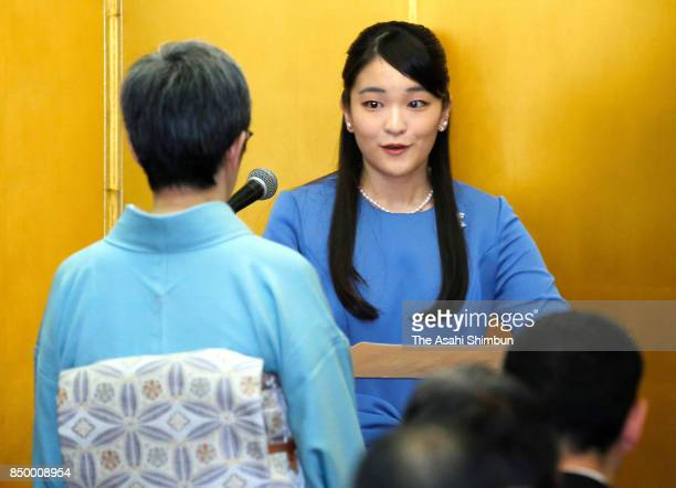 Princess Mako of Akishino attends the Japan traditional Crafts exhibition award ceremony at Nihonbashi Mitsukoshi Department Store on September 20...