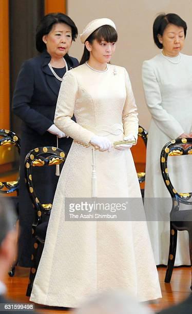 Princess Mako of Akishino attends the 'UtakaiHajimenoGi' New Year's Poetry Reading ceremony at the Imperial Palace on January 13 2017 in Tokyo Japan