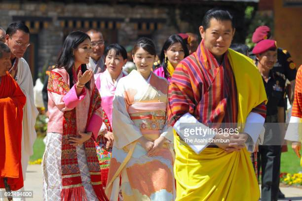 Princess Mako of Akishino King Jigme Khesar Namgyel Wangchuck and Queen Jetsun Pema visit a flower exhibition on June 4 2017 in Thimphu Bhutan