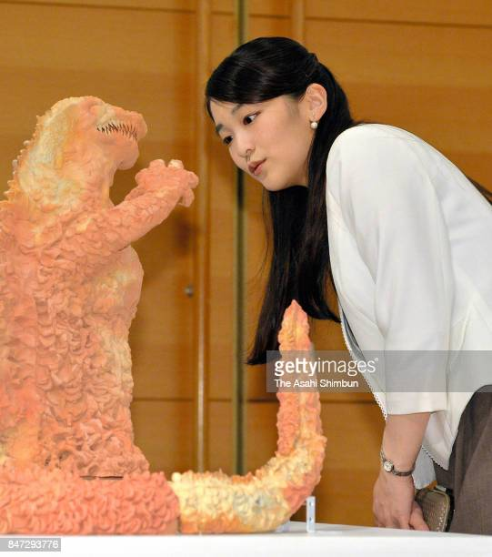 Princess Mako of Akishino listens to explanation during her visit to the International Ceramics Festival on September 14 2017 in Tajimi Gifu Japan