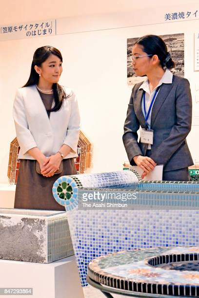 Princess Mako of Akishino listens to explanation during her visit to the Mosaic Tile Museum on September 14 2017 in Tajimi Gifu Japan