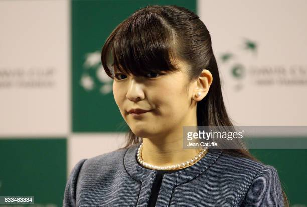 Princess Mako of Akishino of Japan attends the official draw ceremony ahead of the World Group Davis Cup tie between Japan and France at Ariake...