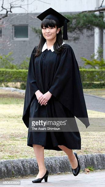 Princess Mako of Akishino poses for photographs prior to attend the graduation ceremony at the International Christian University on March 26 2014 in...