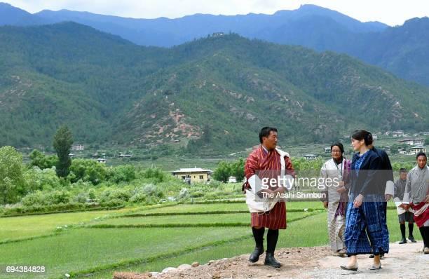 Princess Mako of Akishino visit a Bhutanese famrmer on June 5 2017 in Paro Bhutan
