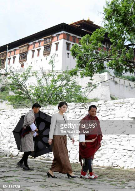 Princess Mako of Akishino visits the Rinpung Dzong Buddhist monastery on June 5 2017 in Paro Bhutan