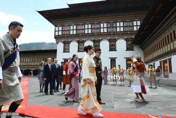 Princess Mako the first grandchild of Japanese Emperor Akihito and Empress Michiko arrives at Tashichho Dzong fortress housing the Bhutan king's...