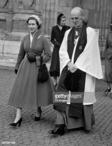 Princess Margaret accompanied by the Dean of Westminster Dr Alan C Don leaves Westminster Abbey London after attending the parade service...