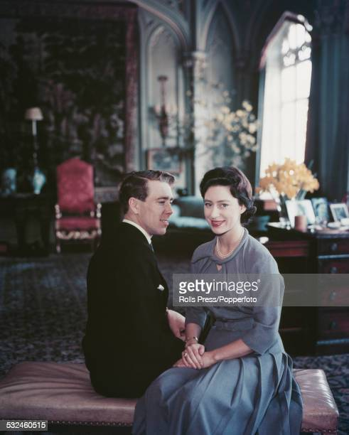 Princess Margaret and Antony ArmstrongJones pictured together after the announcement of their engagement in London on 11th April 1960