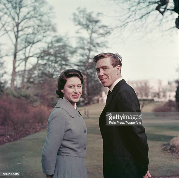 Princess Margaret and fiance Antony ArmstrongJones pictured standing in the grounds of the Royal Lodge Windsor after announcing their engagement on...