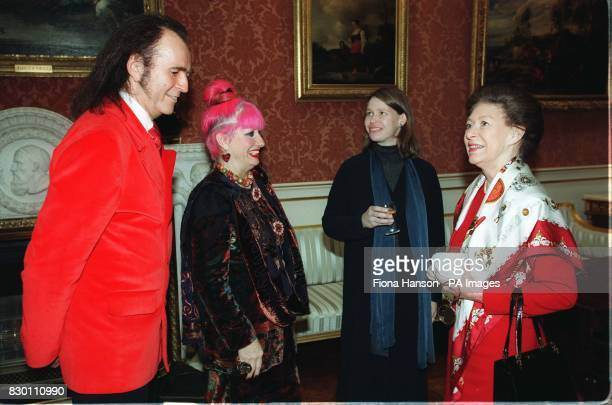 Princess Margaret and her daughter Lady Sarah Chatto talk with celebrity embroiderers David Shilling and fashion designer Zandra Rhodes in the...