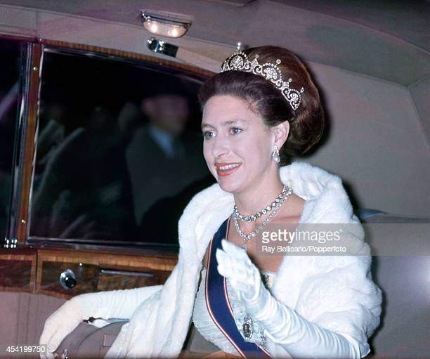 Princess Margaret arriving for a dinner hosted by the Liberian president at the Savoy Hotel on 12th July 1962