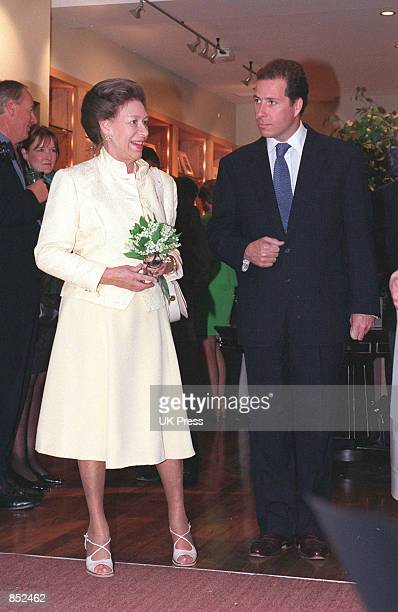 Princess Margaret attends the reopening of Viscount Linley's furniture shop in Pimlico southwest district of London England 1998