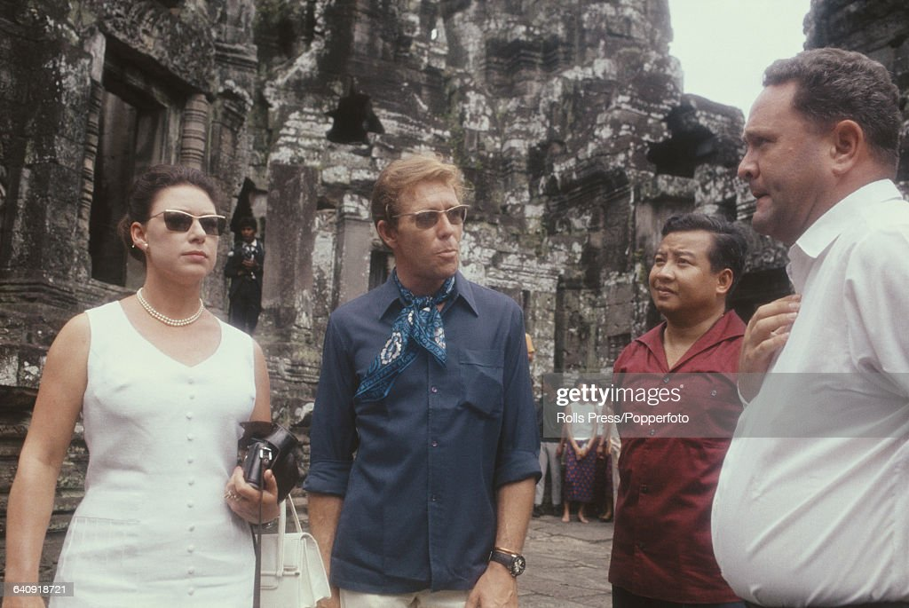 Princess Margaret Countess of Snowdon and her husband Antony ArmstrongJones pictured with Norodom Sihanouk 2nd from right during a visit to the khmer...