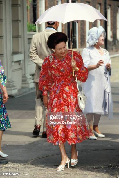 Princess Margaret Countess of Snowdon and the Queen Mother attend the Queen Mother's 90th Birthday outside Clarence House on August 4 1990 in London...