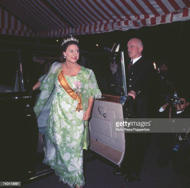 Princess Margaret Countess of Snowdon arrives at the Embassy of Japan in London for an official dinner hosted by Emperor Hirohito of Japan in October...