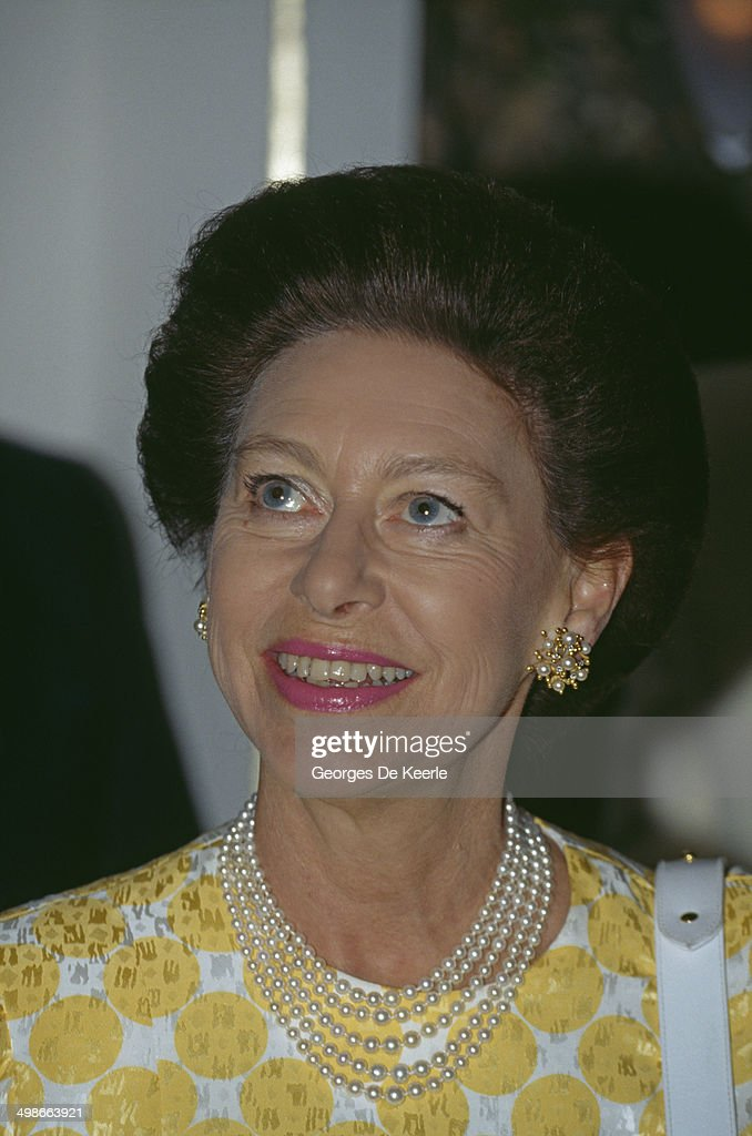 Princess Margaret, Countess of Snowdon, at 10 Downing Street, London, during an official visit by Nelson Mandela, 4th July 1990.