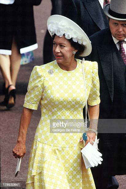 Princess Margaret Countess of Snowdon attends Royal Ascot on June 21 1989 in Ascot England