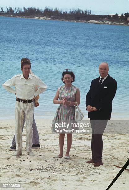 Princess Margaret Countess of Snowdon pictured with her husband Antony ArmstrongJones 1st Earl of Snowdon and Ralph Grey Governor of the Bahamas...