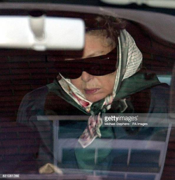 Princess Margaret in the back of a waiting car after she leaves the King Edward VII hospital in central London The Princess was admitted to hospital...