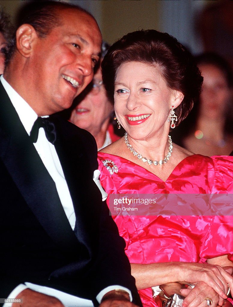 Princess Margaret Laughing With Dress Designer Oscar De La Renta During A Fashion Show In Aid Of The Nspcc At Claridges Hotel In London.