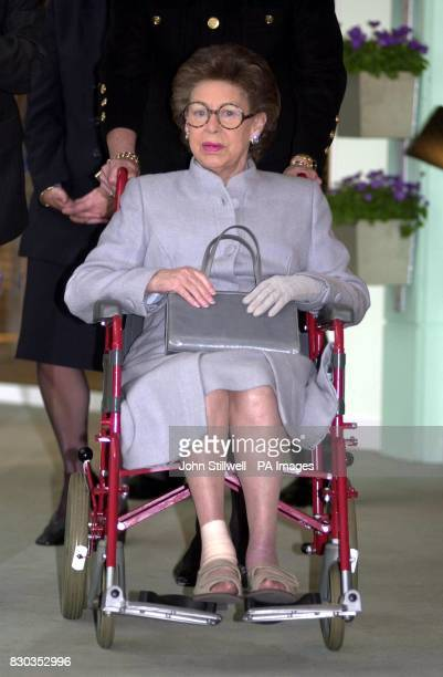 Princess Margaret making a rare public appearance in her wheelchair for part of her visit to the Chelsea Harbour Design Centre London The Princess...