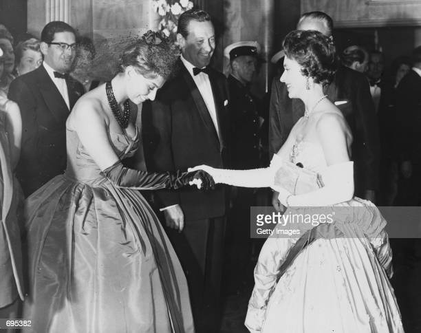 Princess Margaret meets Actress Sophia Loren May 29 1958 during the premiere of Carol Reeds film ''The Key'' at the Odeon Buckingham Palace announced...