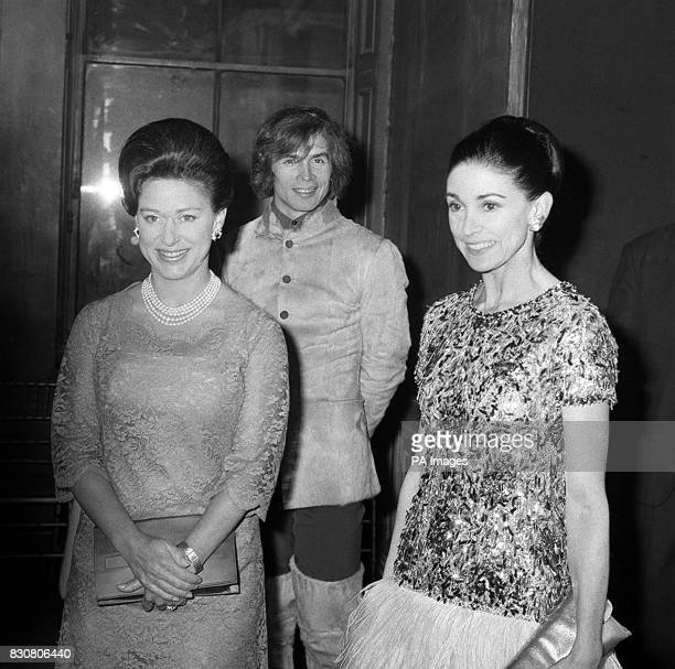 Princess Margaret poses for the cameras with Dame Margot Fonteyn and Rudolf Nureyev at the Royal Academy of Dancing in Knightsbridge London