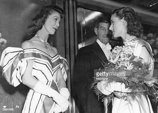 Princess Margaret seen talking to Loretta Young one of the stars of the film 'The Bishop's Wife' The film also starred Cary Grant and was directed by...
