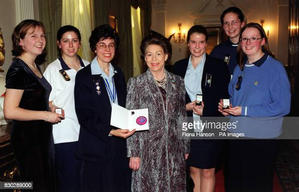 Princess Margaret sister to Britain's Queen Elizabeth II in her capacity as President of the Guides Association was visited at Kensington Palace by...