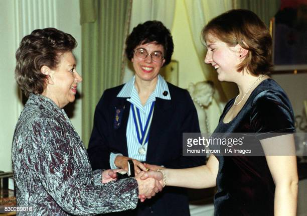 Princess Margaret sister to Britain's Queen Elizabeth II was visited at Kensington Palace by members of the Girl Guides Association HRH presented a...