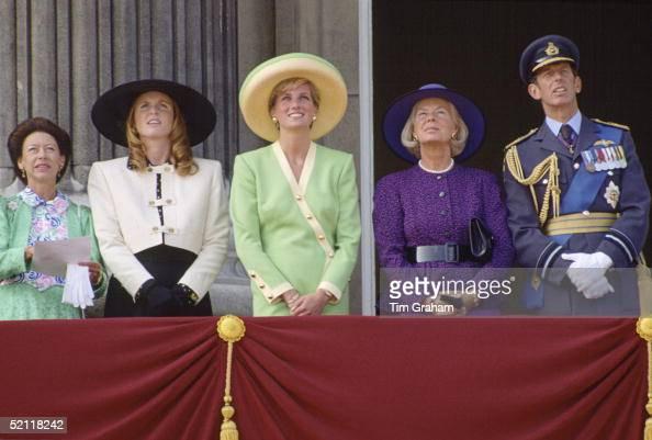 Princess Margaret The Duchess Of York Princess Diana The Duchess Of Kent And The Duke Of Kent On The Balcony Of Buckingham Palace Watching The Battle...