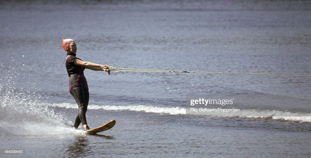 Princess Margaret water-skiing at Sunninghill Park, Windsor on 28th May 1966. This image is one of a series taken by Ray Bellisario who was credited with being the 'original paparazzo' and someone who frequently upset the Royal Family with his informal and often unwelcome style of photography.