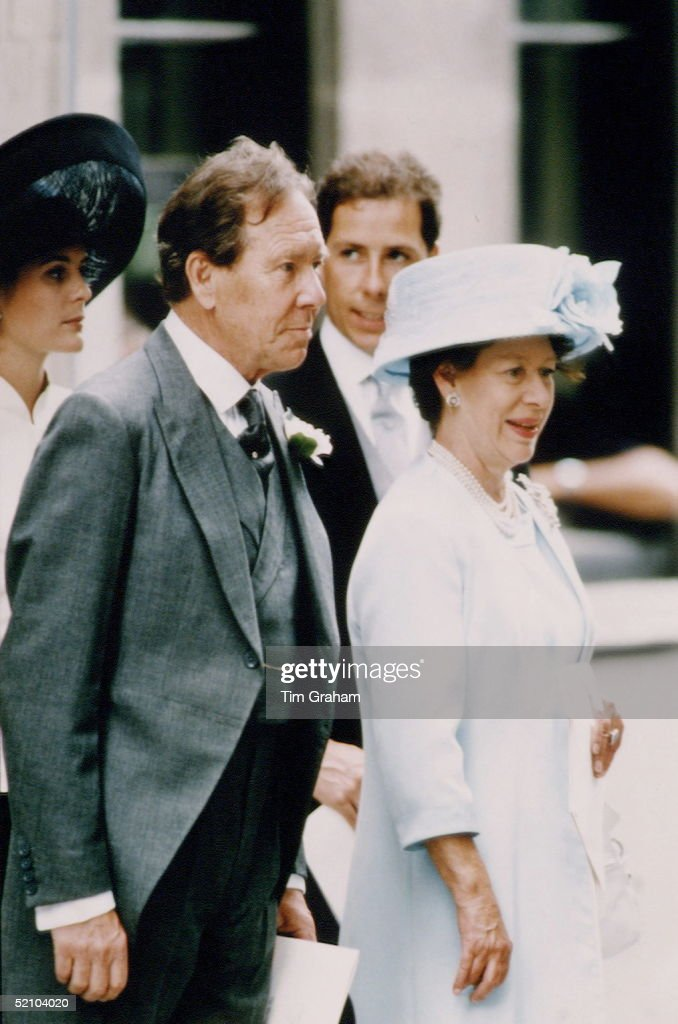 Princess Margaret With Her Ex-husband, Lord Snowdon, At The Wedding Of Their Daughter Lady Sarah Armstrong-jones To Daniel Chatto At St Stephen Walbrook In London. Son, Viscount Linley, And Wife, Serena, Stand Behind. Princess Margaret Coat Was Designed By Sally Ashburton, Her Hat By Graham Smith