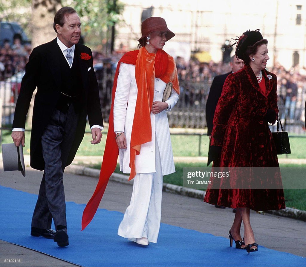 Princess Margaret With Lord Snowdon And Their Daughter Lady Sarah Armstrong-jones Attending The Wedding Of Their Son Lord Linley