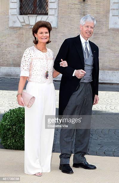 Princess Margaretha of Liechtenstein and Prince Nikolaus of Liechtenstein arrive at Wedding of Prince Amedeo of Belgium and Elisabetta Maria Rosboch...