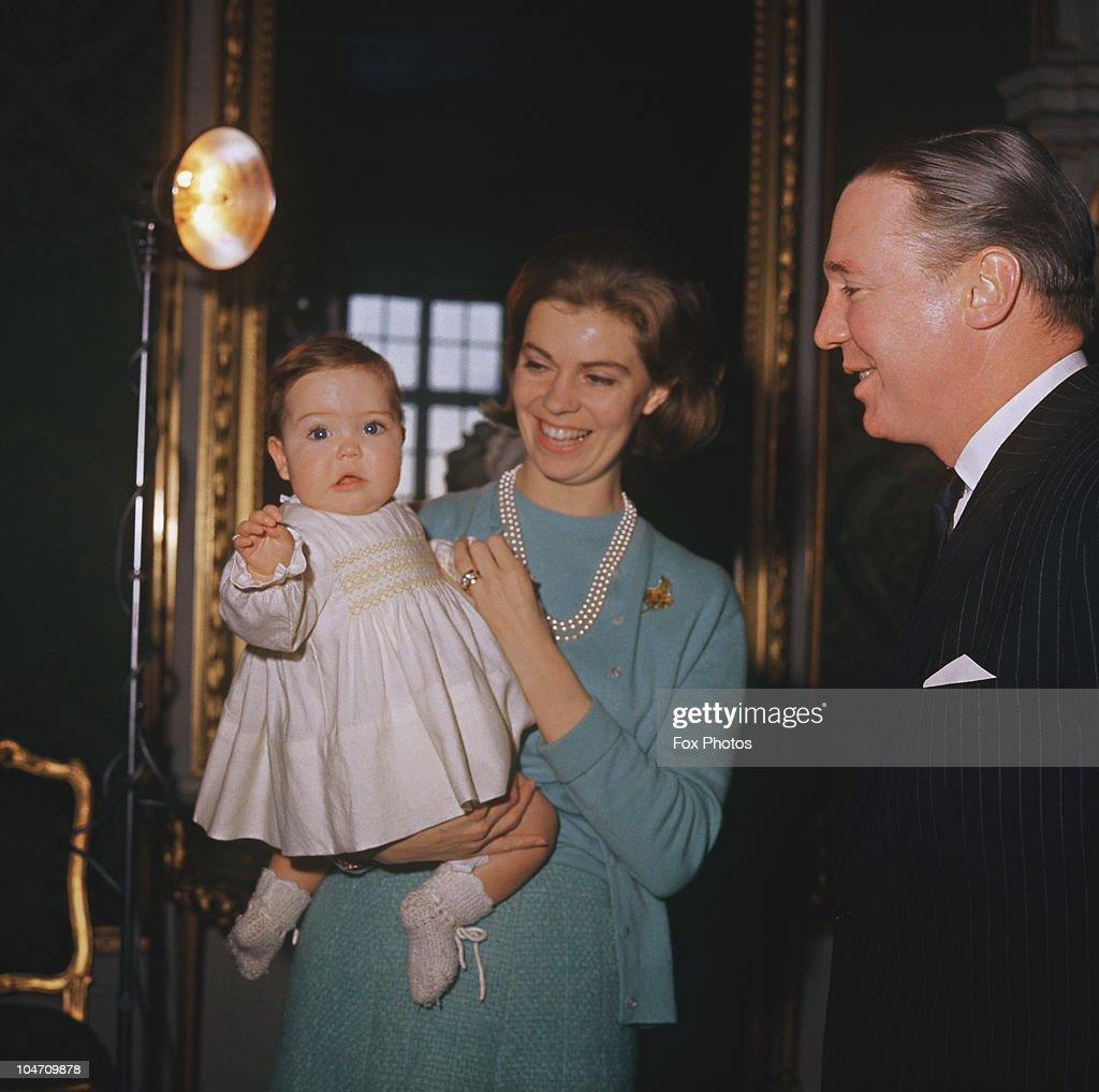 Princess Margaretha of Sweden and her husband John Ambler (1924 - 2008) with their baby daughter Sybilla Ambler at Drottningholm Palace in 1965.