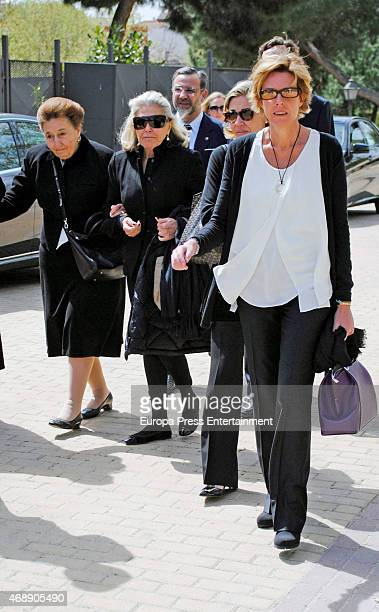 Princess Margarita Beatriz de Orleans and Simoneta Gomez Acebo attend the funeral chapel for Prince Kardam of Bulgaria on April 8 2015 in Madrid Spain