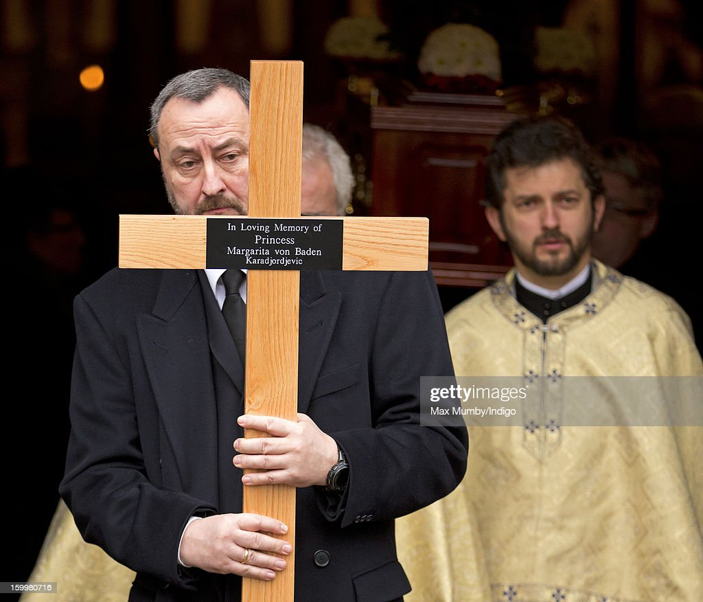 Princess Margarita of Baden's coffin is taken from the Serbian Orthodox Church of Saint Sava after her funeral on January 24, 2013 in London, England.