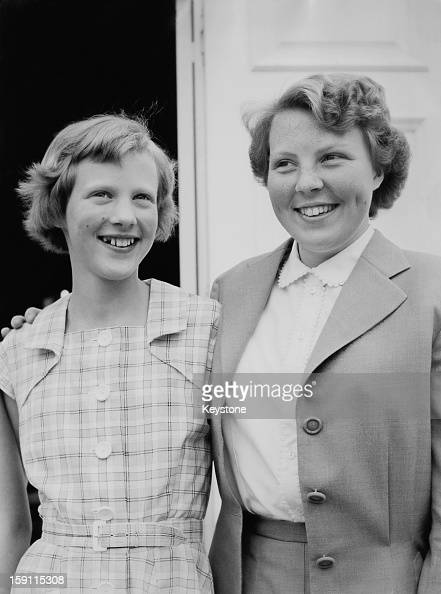 Princess Margrethe later Queen Margrethe II of Denmark and Princess Beatrix later Queen Beatrix of the Netherlands pose together at Gråsten Palace in...