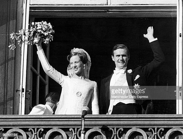 Princess Margrethe later Queen Margrethe II weds Prince Henrik in Copenhagen Prince Henrik was formerly French diplomat Count Henri de Monpezat
